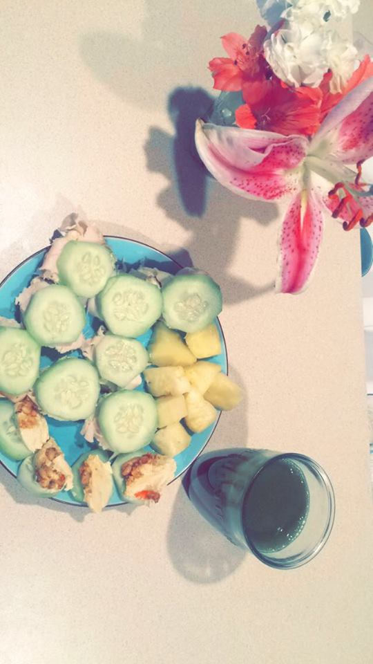 cucumber, turkey, hummus and pinapple