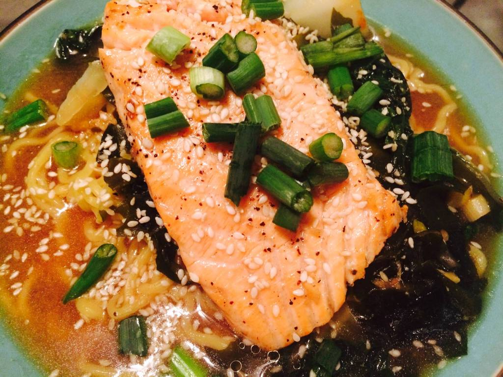 Pan roasted salmon ramen with spicy miso broth