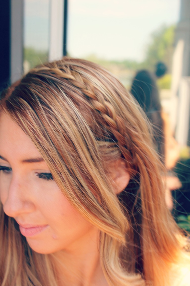Pull the braid across and secure with a bobby pin
