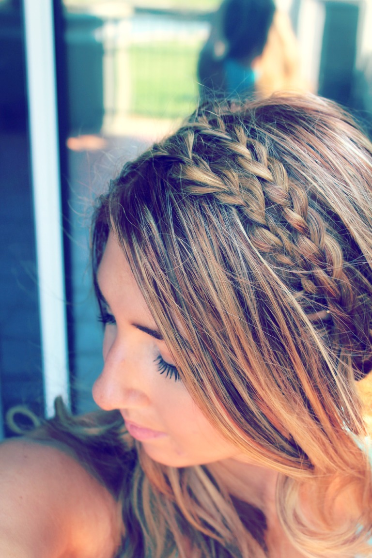 If you want to do a double headband braid, repeat from the other side. I normally pull my braids apart for a thicker look. I didn't wear any extensions here, but you could incorporate them easily into this if you wanted.